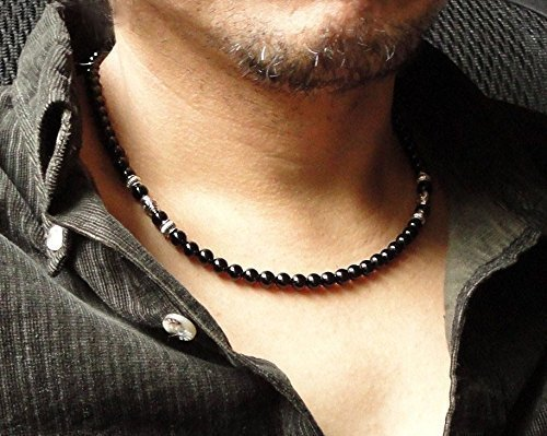 Mens 6mm Black Onyx Necklace 18, 20, 22, 24 inch High Quality Gemstone Jewelry - Handcrafted in USA (Steel Necklace Stainless Strand)