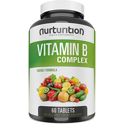 Vitamin B Complex Supplements - Methylated Super B Complex Capsules - High Potency bcomplex Vitamins - Healthy Nature Made VIT - Organic and Pure Formula - 2018 Energy Recipe by Nurturition (Vitamin Formula B-complex)