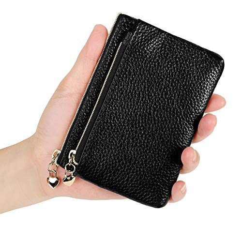 Womens Genuine Leather Coin Purse Zipper Pocket Size Pouch Change Wallet