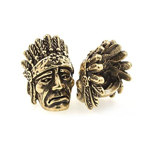 Indian Chief Diamond Cut - SouthBeat Paracord Bead Indian Chiefs Brass Charm fit for EDC Survival Bracelet DIY Making 2Pcs (Antique Bronze)