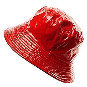 Ladies Girls Rain Resistant Bell Bucket Foldable Travel Cap Hat Cap Red 56cm