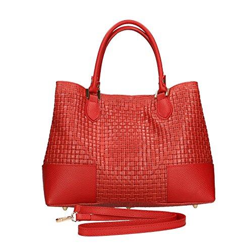 Donna in Stampa Chicca Cm Rosso da Vera Intrecciata Handbag Italy Borse Tracolla 37x27x14 con a Made Borsa in Pelle Mano S8W8ZXqn