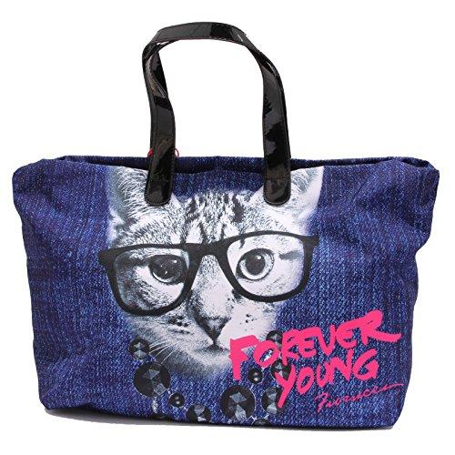 FIORUCCI 6199U borsa donna GATTO shopping blue bag woman Blu