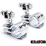 "Krator® Chrome 1-1/4"" Foot Peg Adapter Clamps Engine Guard Mounts for Harley Davidson Chrome 1-1/4"" Foot Peg Clamps Engine Guard Mounts"