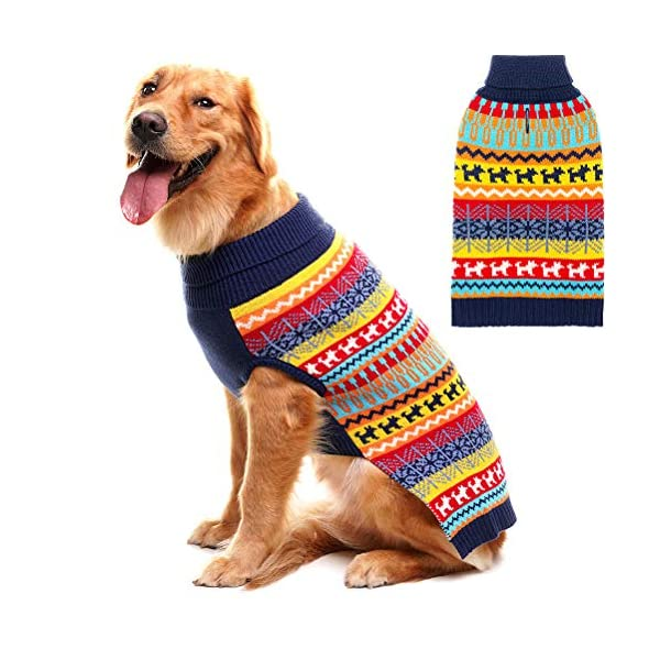 Mihachi Dog Sweater - Winter Coat Apparel Clothes with Colorful Stripes for Cold Weather 1