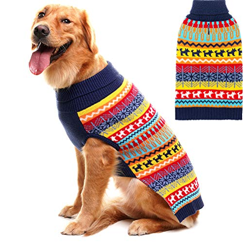 Mihachi Dog Sweater - Winter Coat Apparel Clothes with Colorful Stripes for Cold Winter,S ()