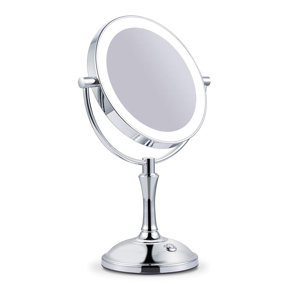 Makeup Mirror with Lights Lighted Makeup Mirror LED Vanity Mirror 7X Magnifying Magnified Double Sided Makeup Mirror Adjustable Cool White Light Mirror Large Makeup Corded Cordless Mirror (Silver)