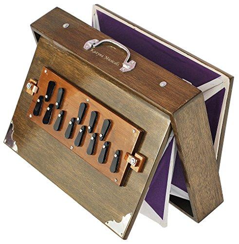 "Caja Shruti total tamaño de madera (15"" x 10"" x 3"") pulgadas ~ sintonizado: 440Hz, Gig Bag, rata Color, llave–C a C (inferior Tone- macho tipo Reed), sur Peti, surpeti, Yoga, Bhajan, Kirtan, Mantra, Drone"