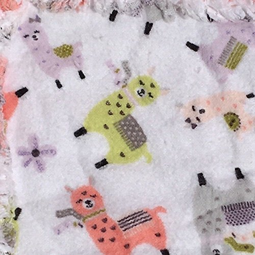Flannel baby quilt peach with colorful smiling llamas by Laughing Heart Designs