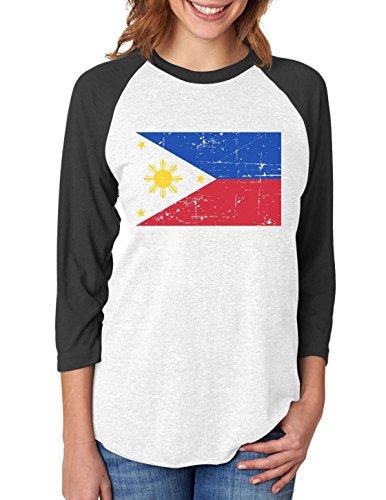 Vintage Philippines Flag Retro Style 3/4 Women Sleeve Baseball Jersey Shirt Medium black/white