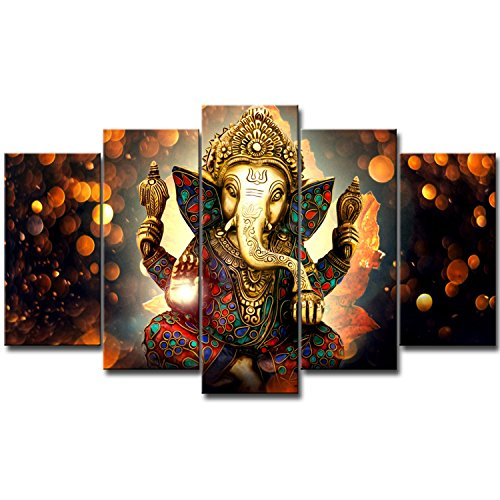 KKJJ 5 Pieces Non-Woven Canvas Print Buddha Ganesh Wall Artwork Picture | Printed Artwork for Wall Decor - Frameless,20x40x2+20x50x2+20x60x1(cm)
