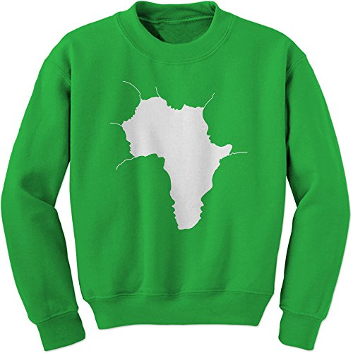 FerociTees Crew Faces Of Africa African American Pride History Adult X-Large Kelly Green by FerociTees