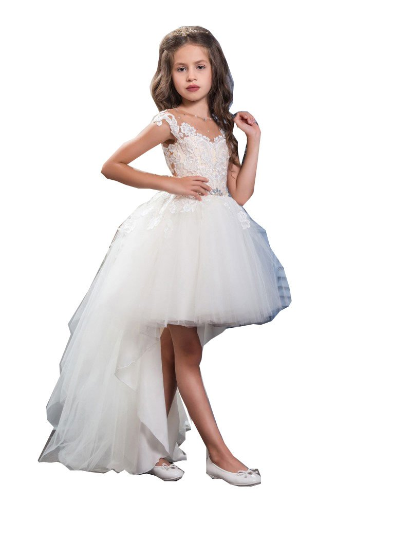 Kellaixiang White Lace Short Flower Girl Dress Wedding Prom Gown With Long Train (5) by Kelaixiang