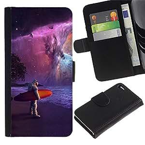 Billetera de Cuero Caso Titular de la tarjeta Carcasa Funda para Apple Iphone 4 / 4S / Astronaut Surfer Painting / STRONG