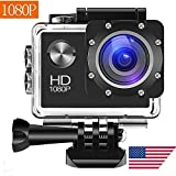 Wewdigi EV4000 Action Camera, 12MP 1080P 2 Inch LCD Screen, Waterproof Sports Cam 140 Degree Wide Angle Lens, 30m Sport Camera DV Camcorder with 9 Accessories Kit-W (1080p)