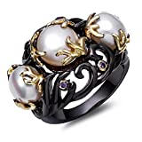 Shell Pearls AAA Cubic Zirconia Black Gold 2 tone plated Rings for Women