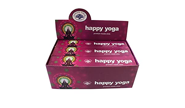 Happy Yoga Incense Sticks - By Green Tree - 12 Packs | Whole Box