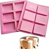 Set of 2 - CHICHIC 6 Cavity DIY Rectangle Silicone Soap Molds, Baking Mold Cake Pan, Biscuit Mold, Chocolate Mold, Ice Cube Tray for Homemade Craft
