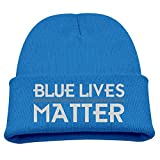 Kids Beanie Hat Police Blue Lives Matter Thin Blue Line Skull Cap In 4 Colors
