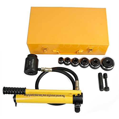 10 Ton Hydraulic Knockout Punch Drive Hole Complete Set 6 Dies Ram with Hose