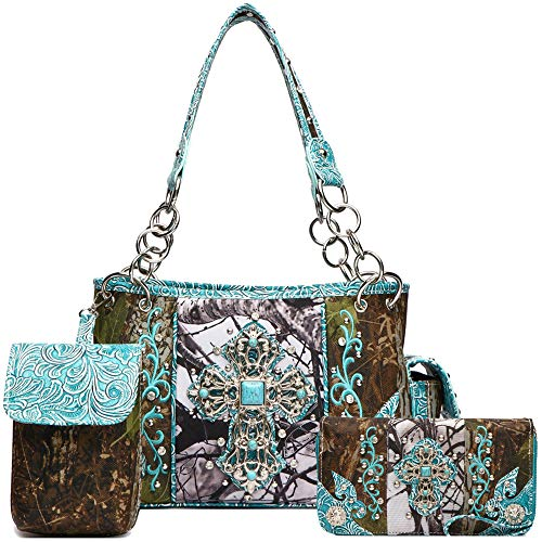 Camouflage Cross Studs Western Style Concealed Carry Purse Women Handbag Country Shoulder Bag Wallet Set (Turquoise) ()