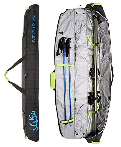 KULKEA Kantaja - Ski Bag, Black/Blue/Green (170 cm)