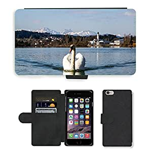 """Hot Style Cell Phone Card Slot PU Leather Wallet Case // M00113410 Swan Bird White Lake Water Bird // Apple iPhone 6 PLUS 5.5"""""""