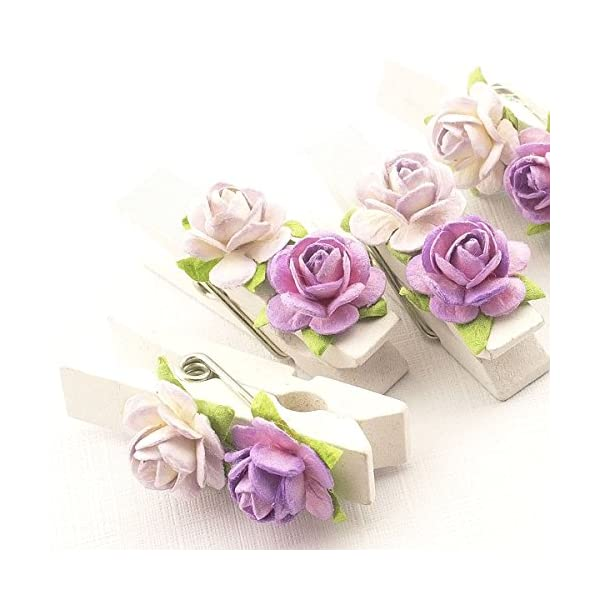 Summer-Ray 50 Handmade Mulberry Flower Decorated Mini White Wooden Clothespin Wedding Favors Decoration (White-Lavender)