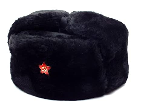 Russian Soviet Army Fur Military Cossack Ushanka Hat Black Red Star (M 58) 01ad8d84aca