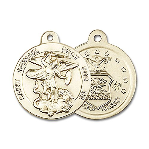 14kt Yellow Gold St. Michael the Archangel Medal 7/8 x 3/4 inches