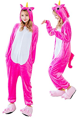 Qiyuxow Unisex Family Kids Pajamas Plush Onesie Unicorn Cosplay Animal Costume (Adult S(Suggested Height - 4'9