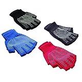Cheap Haseil Men's Yoga Glove Non Skid Fingerless 4 Pack Anti Slip Exercise Pilates Glove, Pack1