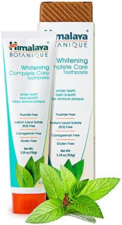 Himalaya Whitening Toothpaste - Simply Mint 5.29 oz/150 gm (1 Pack), Natural, Fluoride-Free & SLS-Free