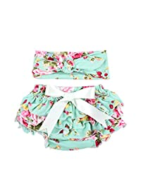 Baby Girls Diaper Cover Outfit Cotton Soft Newborn Bloomer and Headband Set