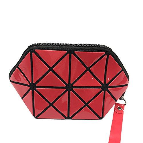 Señoras Embrague Diamond Lattice Monedero Leisure Hand-held Storage Cosmetic Bag Mujeres Multifuncional Pequeño Bolso Red