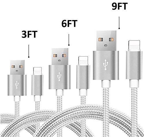 IHC iPhone Lightning Charging Cable 3 PACK (3FT, 6FT, 9FT) - iPhone X, 8, 8 Plus, 7, 7 Plus, 6S, 6SPLUS, 6, 6PLUS, 5, 5c, 5s, SE, iPad Air, iPad Air 2, iPad Mini & More (Silver, 3FT/6FT/9FT)