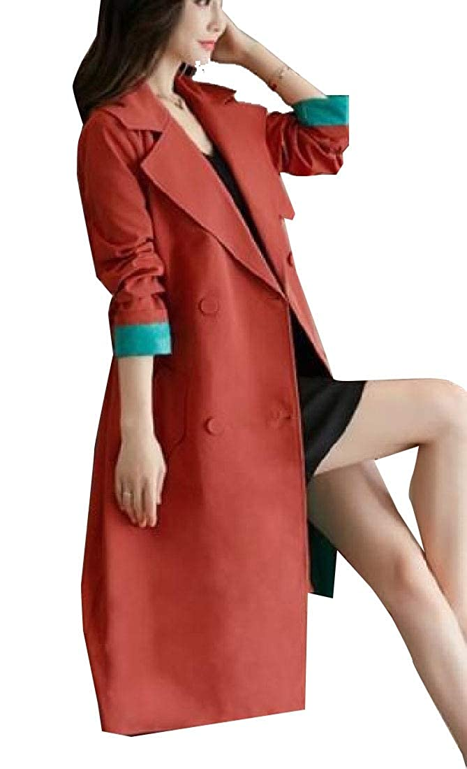 1 jxfd Women's Elegant Double Breasted Long Sleeve Trench Coat Outwear