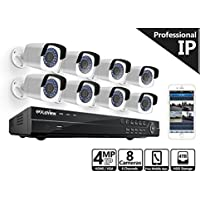 LaView 4-Megapixel (2688 x 1520) 8 Channel PoE 4K NVR Security Camera System - 8 Camera Security Camera System - 8 4MP Bullet IP Surveillance Cameras, 100ft Night Vision, Pre-Installed 4TB Hard Drive
