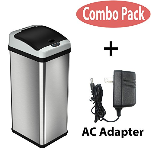iTouchless 13 Gallon Stainless Steel Touchless Trash Can with AC Adapter, Platinum Limited Edition, Odor Control System Kitchen Bin (Combo Basket Corner)