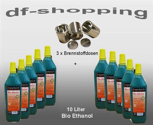 10litros alto rendimiento Bio Etanol y 3vacío Latas de Combustible 0,25L. latas 10 L. Ethanol + 3 Dosen