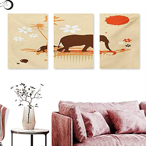 Mannwarehouse Elephant Landscape Canvas Mother Baby Elephants in Tropical Lands Desert Illustration of Safari Kids Triptych Wall Art Orange Brown Cream W 24