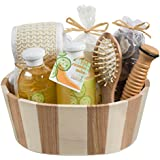 Fresh Cucumber melon two tone wood spa basket! Wooden massage comb, reflexology wood stick, back scrubber loofah, candle, potpourri in an organza bag, 260ml shower gel, 260ml bubble bath
