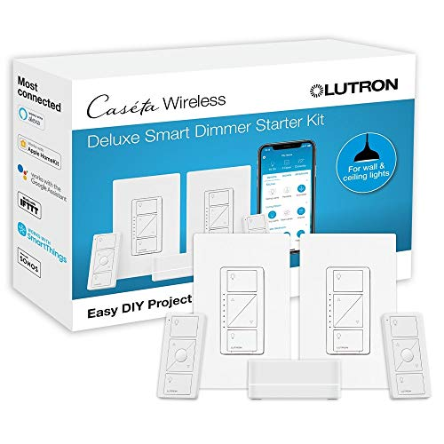 Lutron Caseta Deluxe Smart Dimmer Switch (2 Count) Kit   Works with Alexa, Apple HomeKit, and the Google Assistant   P…