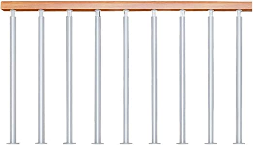 Pasamanos de Escalera con Columna de pie de Hierro y Columna Horizontal de Madera Maciza, Adecuado para el hogar Villas Bares Granja Casa, Combinación Libre: Amazon.es: Hogar