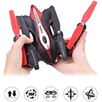 DoDoeleph Syma X56 Portable Foldable RC Helicopter Drone 2.4Ghz 6-Axis Gyro Altitude Hold And One Key Take off Landing Aircraft Mini Quadcopter Without Camera Black