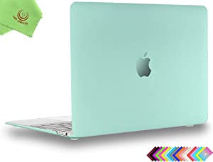 UESWILL Smooth Matte Hard Shell Case Cover for MacBook 12 inch with Retina Display (Model: A1534) + Microfibre Cleaning Cloth, Green