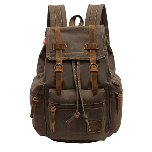 Canvas Backpack, P.KU.VDSL 15' Laptop Backpack Vintage Canvas and Leather Rucksack Travel Bag Daypacks for Men Outdoor Sports Recreation (Grey-20)