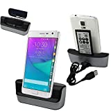 Samsung Galaxy Note Edge Charger Dock,Leevin(TM) Silver desktop Charging Cradle dock docking station battery charger stand with 2nd battery charger for Samsung Galaxy Note Edge N9150