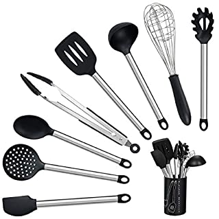 Cooking Utensil Set, Non-Scratch and Non-stick Heat Resistant Silicone Cooking Utensil Set, Utensils Set with Stainless Steel Handle, Safe Silicone Stainless Steel Tools, Works for Cooking and Serving