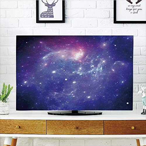 iPrint LCD TV dust Cover Customizable,Space Decorations,Nebula Gas Cloud of Dust Spiral Expanse Planet Galaxy System Milky Way Home Decor,Navy Purple,Graph Customization Design Compatible 47